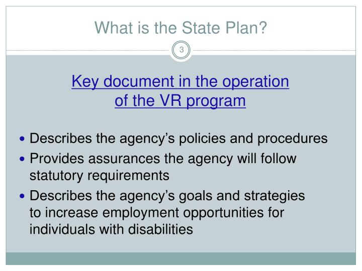 What is the State Plan?