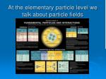 at the elementary particle level we talk about particle fields