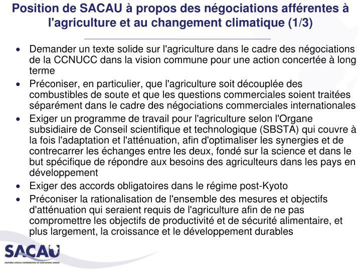 Position de SACAU à propos des négociations afférentes à l'agriculture et au changement climatique (1/3)