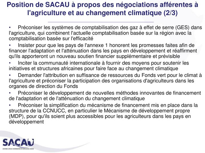 Position de SACAU à propos des négociations afférentes à l'agriculture et au changement climatique (2/3)