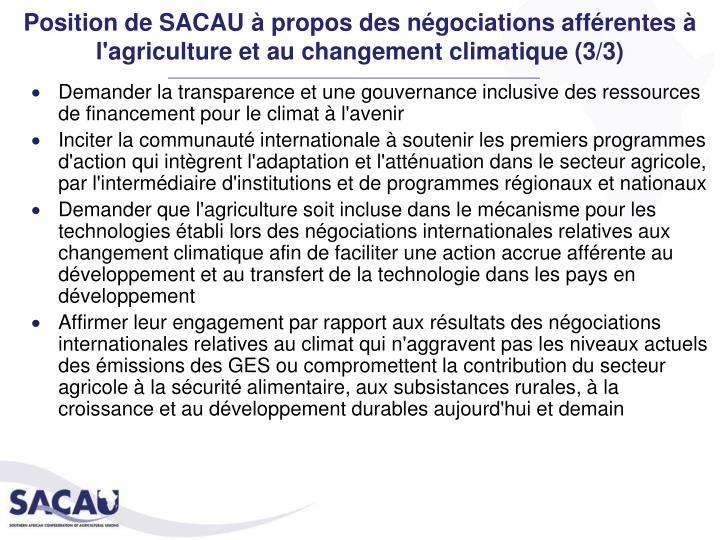 Position de SACAU à propos des négociations afférentes à l'agriculture et au changement climatique (3/3)