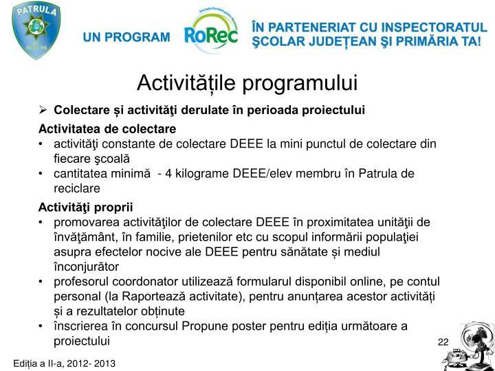 Activitățile programului