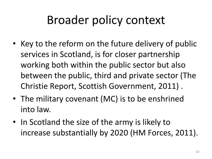 Broader policy context