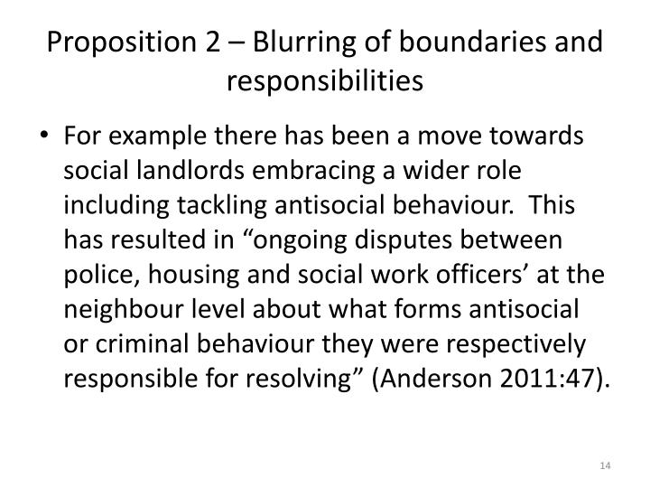 Proposition 2 – Blurring of boundaries and responsibilities