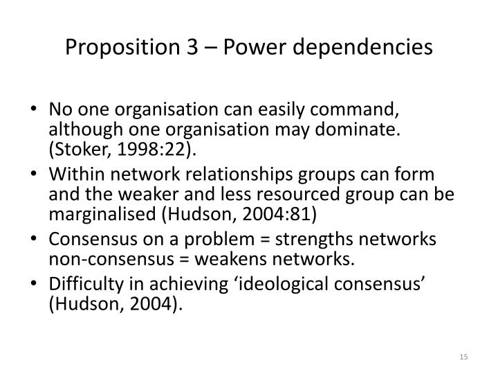 Proposition 3 – Power dependencies