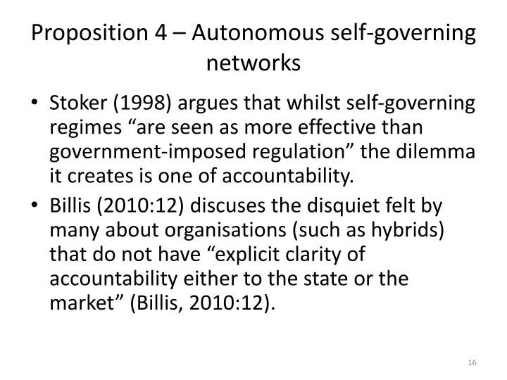 Proposition 4 – Autonomous self-governing networks