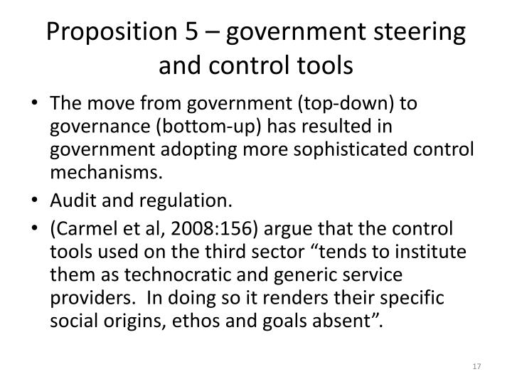 Proposition 5 – government steering and control tools