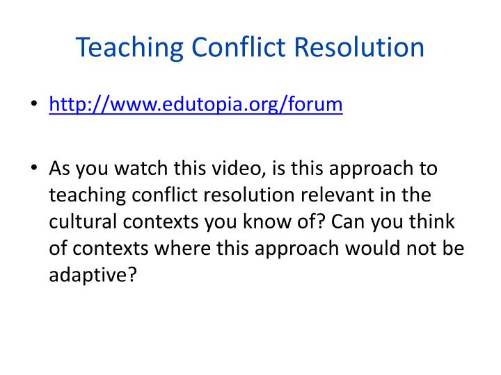 Teaching Conflict Resolution