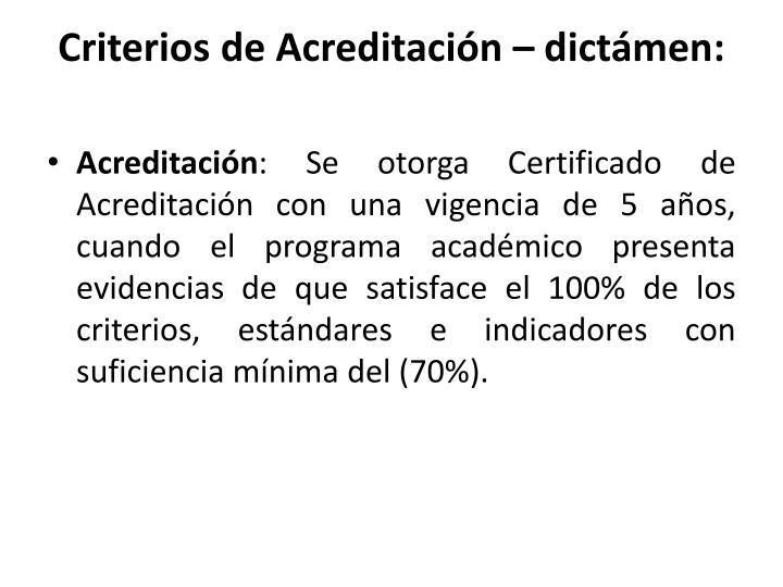 Criterios de Acreditación –