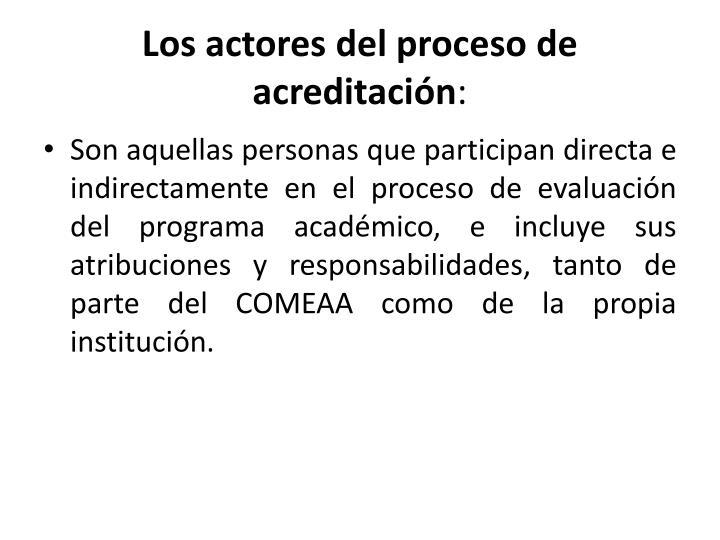 Los actores del proceso de acreditación