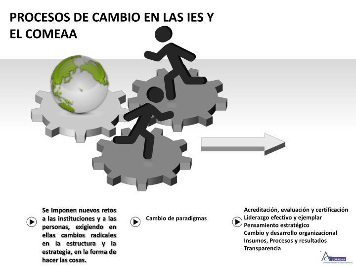PROCESOS DE CAMBIO EN LAS IES Y EL COMEAA