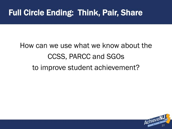 Full Circle Ending:  Think, Pair, Share