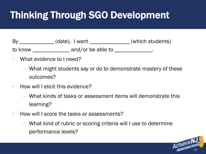 Thinking Through SGO Development
