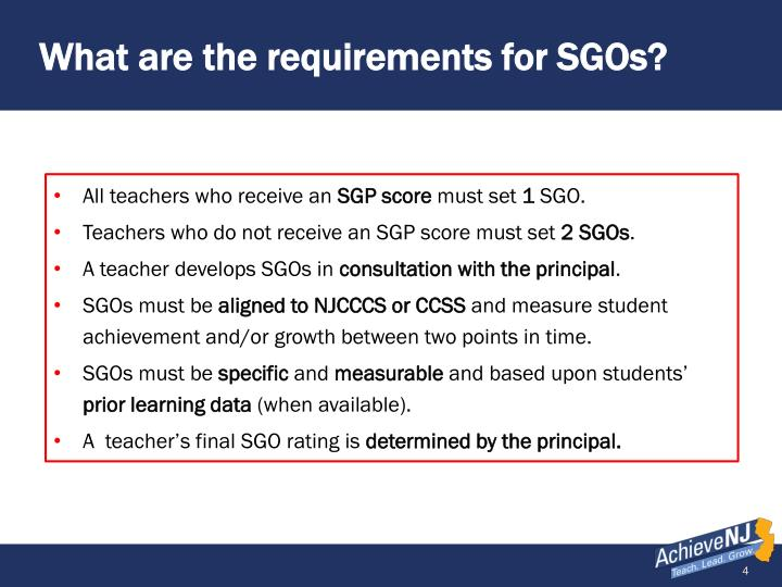 What are the requirements for SGOs?