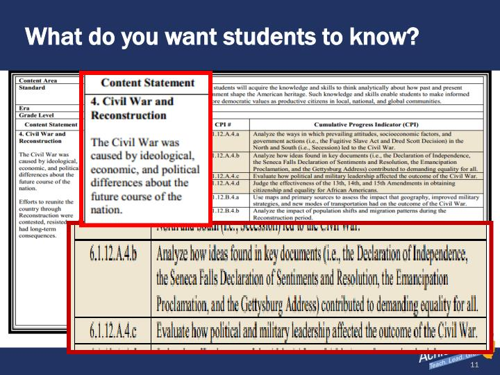 What do you want students to know?