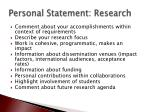 personal statement research