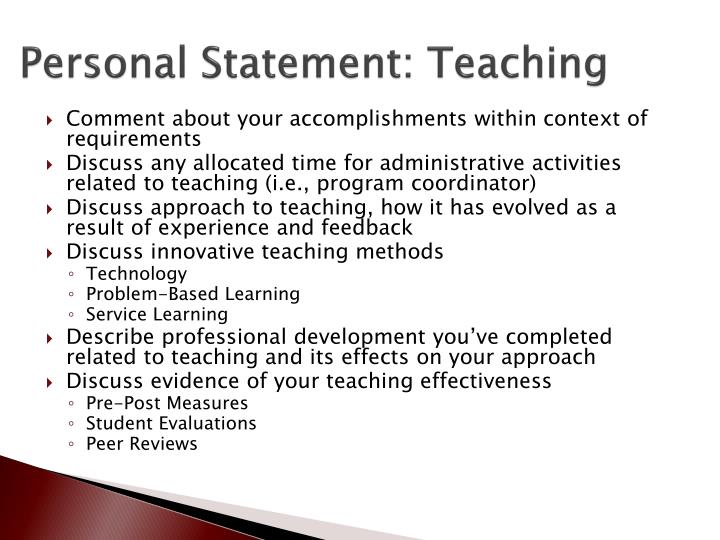 Personal Statement: Teaching