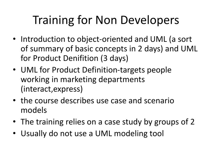 Training for Non Developers