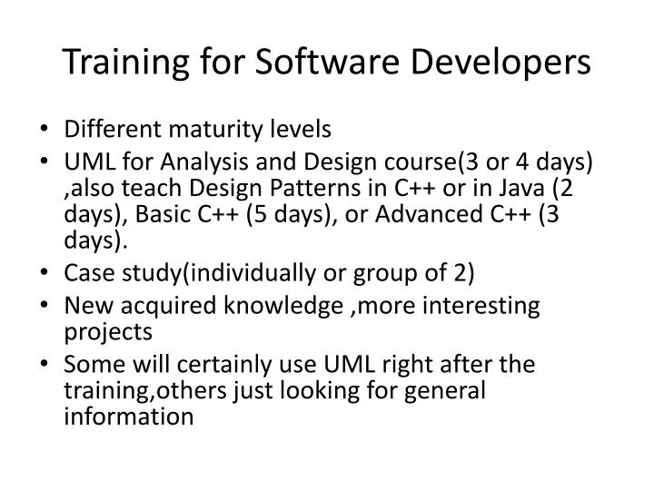 Training for Software Developers
