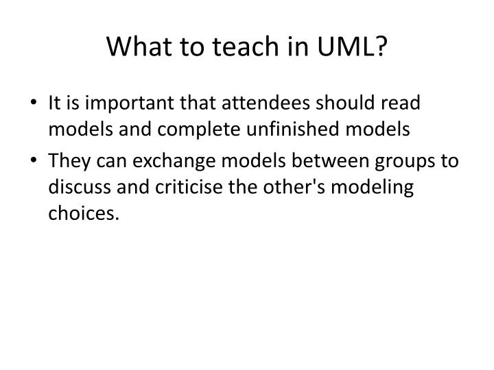 What to teach in UML?