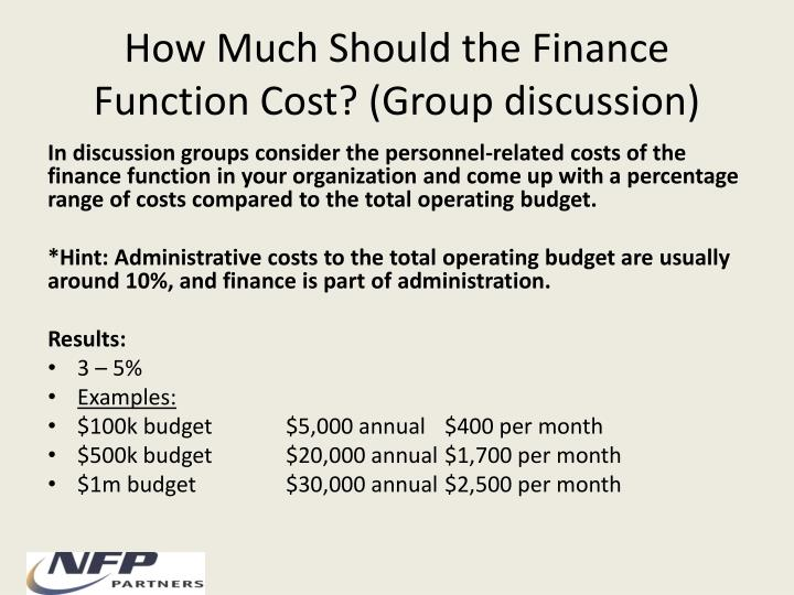 How Much Should the Finance Function Cost? (Group discussion)