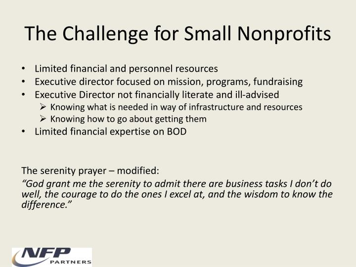 The Challenge for Small Nonprofits