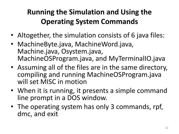 Running the Simulation and Using the Operating System Commands