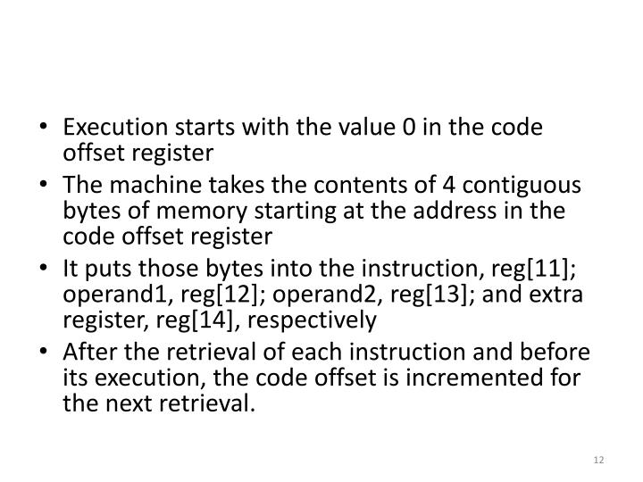 Execution starts with the value 0 in the code offset register