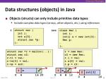 data structures objects in java
