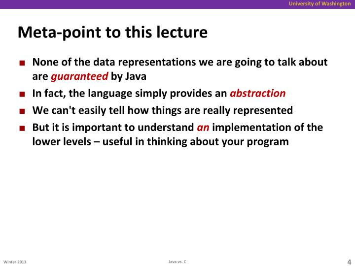 Meta-point to this lecture