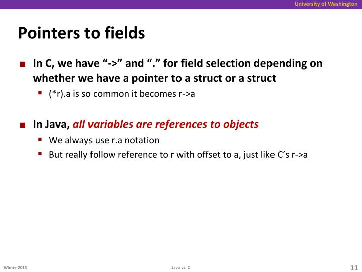 Pointers to fields