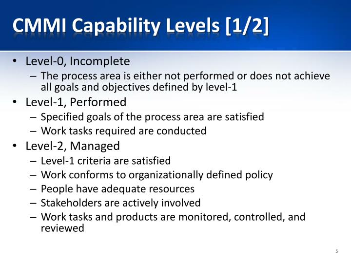 CMMI Capability Levels [1/2]