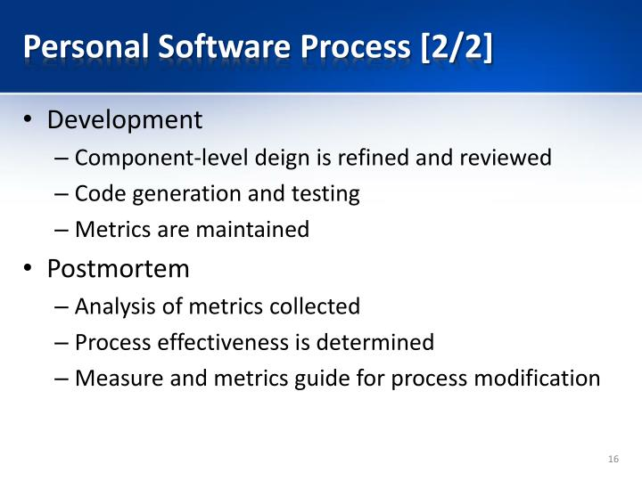 Personal Software Process [2/2]