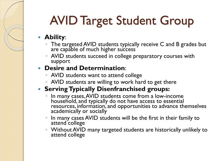 AVID Target Student Group