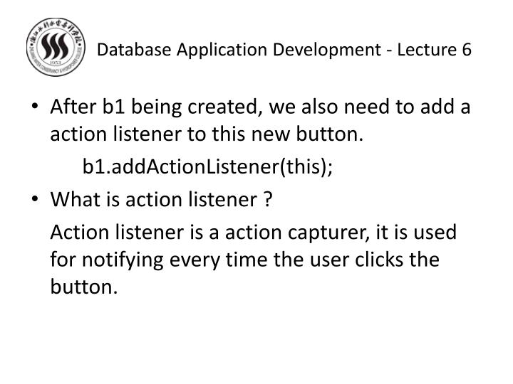 Database Application Development - Lecture 6