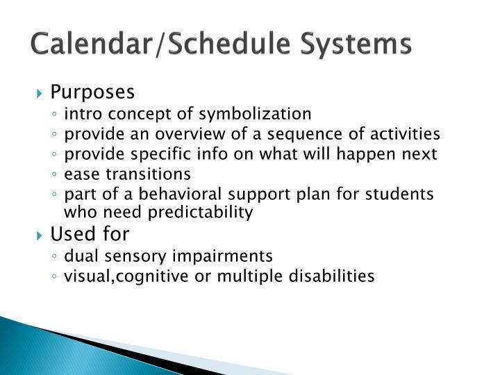 Calendar/Schedule Systems