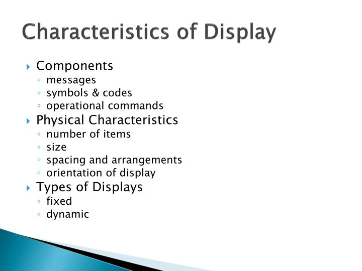 Characteristics of Display