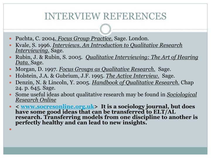 INTERVIEW REFERENCES