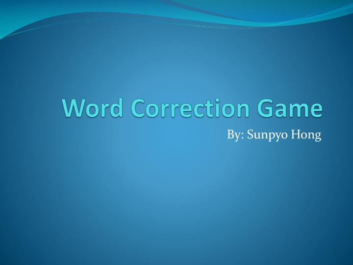 Word correction game