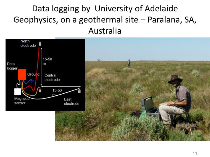 Data logging by  University of Adelaide Geophysics, on a geothermal site –
