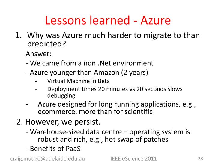 Lessons learned - Azure