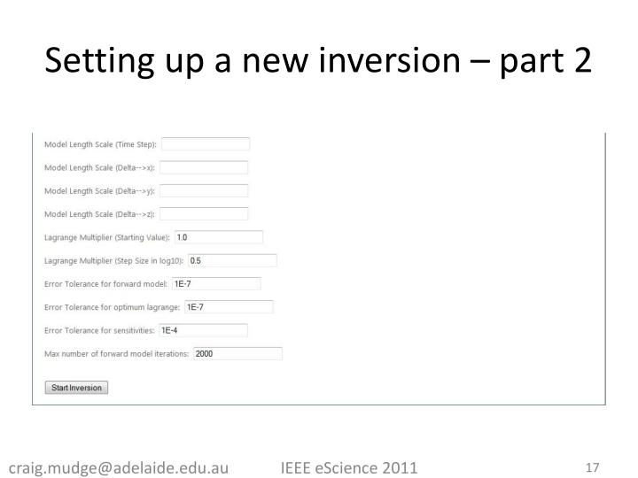 Setting up a new inversion – part 2