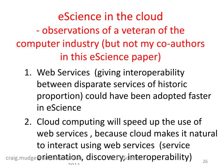 eScience in the cloud