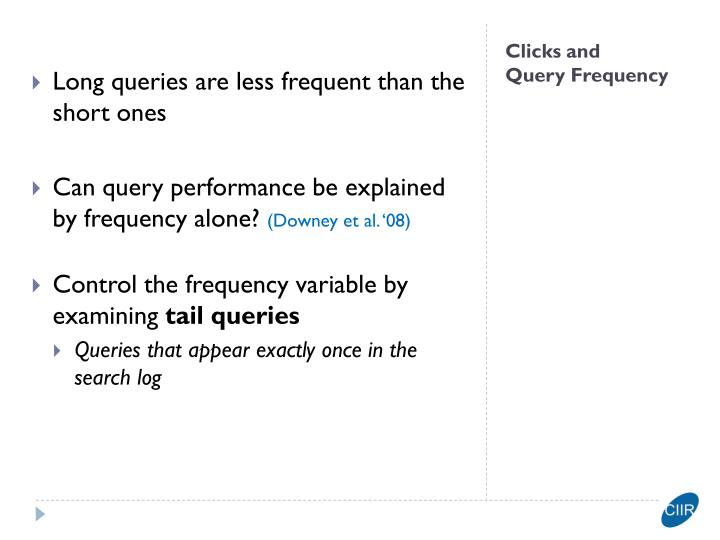 Long queries are less frequent than the short ones
