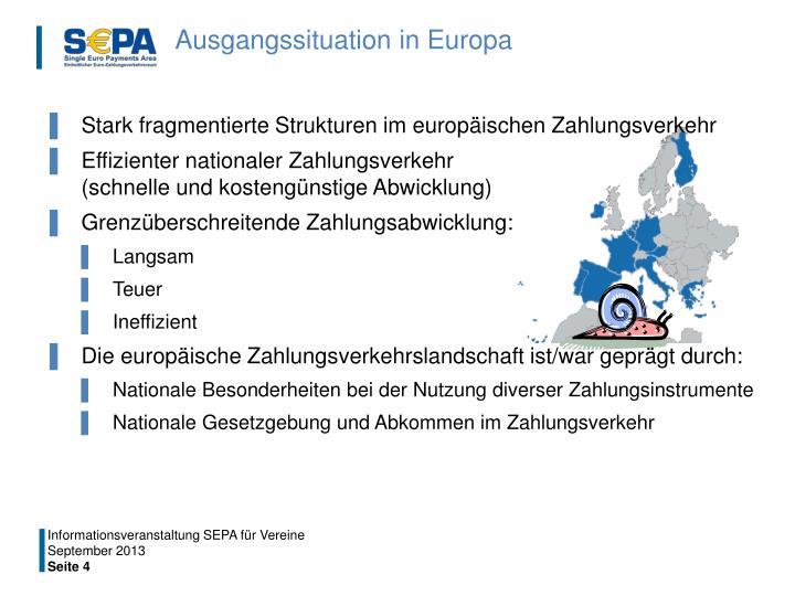 Ausgangssituation in Europa
