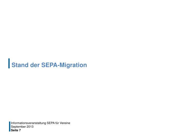 Stand der SEPA-Migration