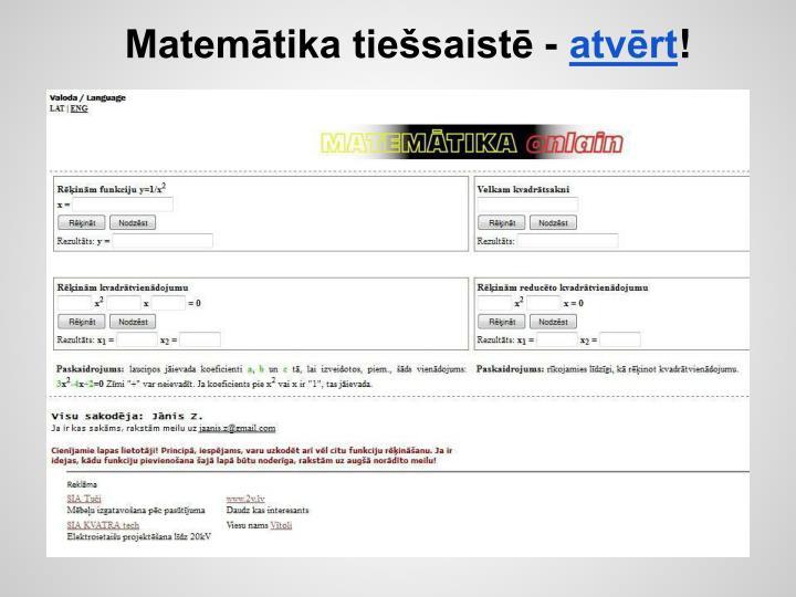 Matemātika tiešsaistē -