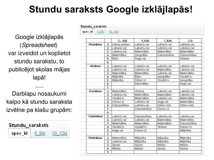Stundu saraksts Google izklājlapās!
