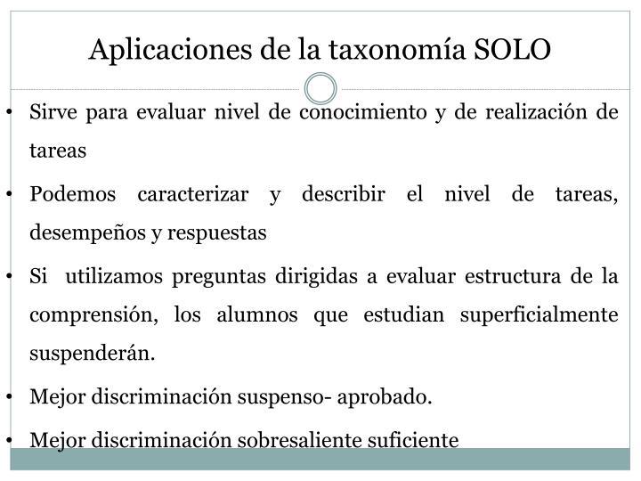 Aplicaciones de la taxonomía SOLO