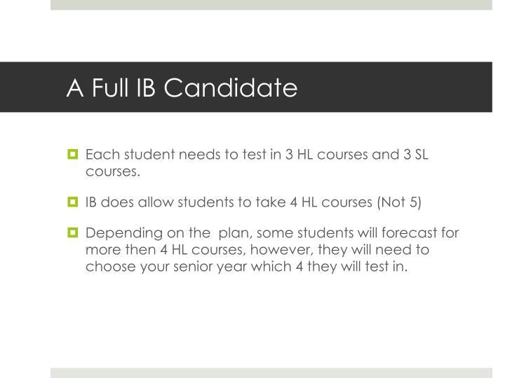 A Full IB Candidate